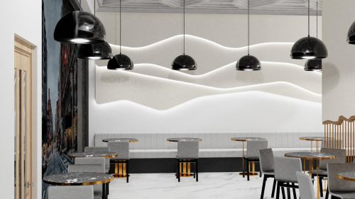 20-KAVIAREŇ HOTELA NUBE (105 m²)-Študentský koncept